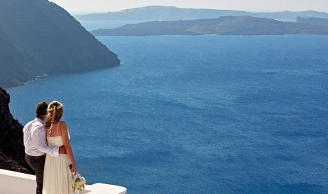 San Antonio Hotel is one of the most beautiful wedding venues in Santorini, with a stunning sea view