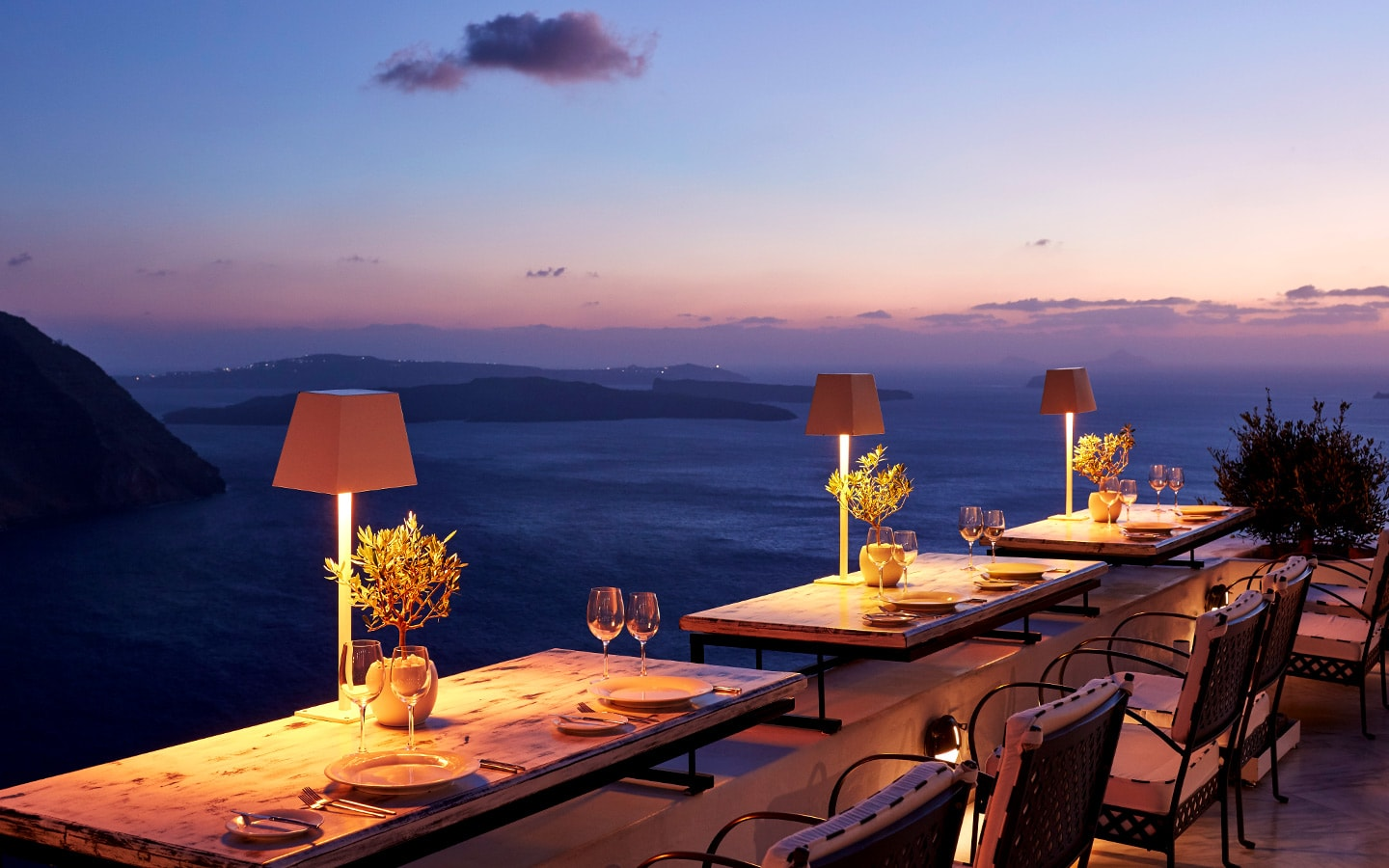 Sea View From The Cliffside Dinner Restaurant Dining Tables At San Antonio Santorini Hotel