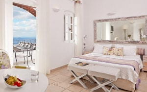 Interior of Classic Double Sea View room accommodation at San Antonio Santorini Hotel in Imerovigli