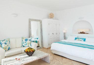Interior of Honeymoon Suite caldera & sea view luxury accommodation, San Antonio Hotel in Santorini