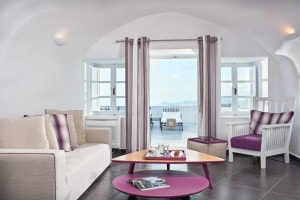 Open plan living room area in the Master Suite Sea View at San Antonio luxury Hotel in Santorini