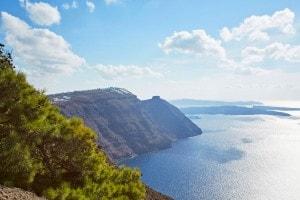 Stunning Santorini caldera & sea views from the clifftop San Antonio Luxury Hotel in Imerovigli