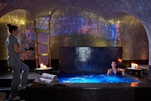 The Jacuzzi at San Antonio Hotel volcanic spa suite in Santorini is a great place to relax & unwind