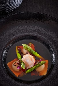 Nouvelle cuisine ravioli & asparagus dish at the Cliffside Hotel Restaurant in Imerovigli, Santorini