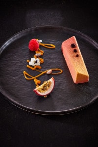 Nouvelle cuisine dessert dish to enjoy at San Antonio Hotel Cliffside Dinner Restaurant in Santorini