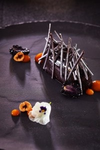 Cliffside Dinner Restaurant in Imerovigli chocolate pudding dessert for guests with a sweet tooth
