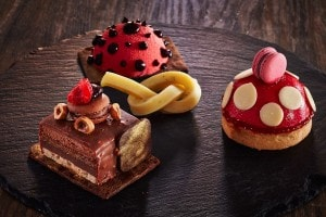 A selection of amazing looking cakes at San Antonio Hotel Cliffside Dinner Restaurant in Santorini