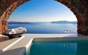 Veranda Jacuzzi in Superior Suite sea view accommodation at San Antonio Santorini Hotel, Imerovigli