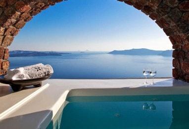 Veranda Jacuzzi in Superior Suite sea view accommodation at San Antonio Santorini Hotel, Imerovigli